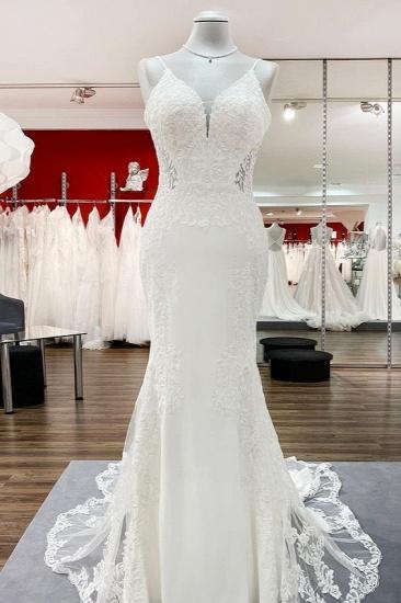 BMbridal Elegant Sleeveless White Lace Satin Mermaid Wedding Dresses