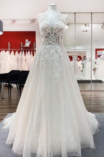 BMbridal Breath-taking Detailed Appliques Ruffles Tulle Ivory Lace Wedding Dresses Long