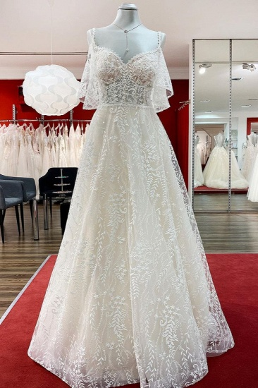 BMbridal Gorgeous Sleeveless Tulle Lace Appliques Sweetheart A-Line Wedding Dresses