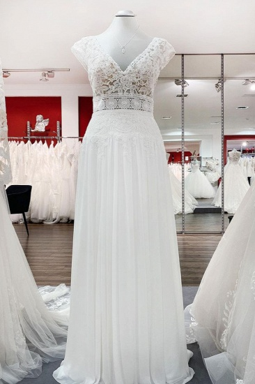 BMbridal Simple Ivory Tulle Lace A-Line Wedding Dresses