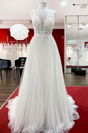 BMbridal Tulle Lace V Neck White Ruffles Wedding Dresses With Lace