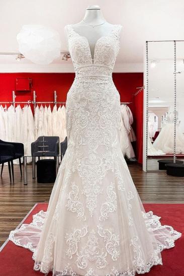 BMbridal Wonderful Sleeveless Tulle Ivory Lace Backless Mermaid Wedding Dresses