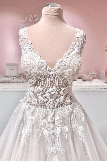 BMbridal Sleeveless Lace Appliques Wedding Dress Long With V-Neck_3