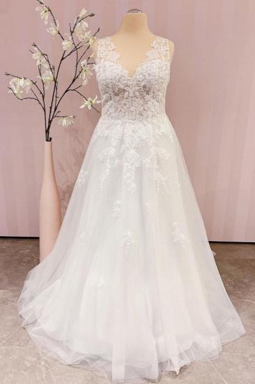 BMbridal Delicate Lace V-Neck Long Wedding Dress Sleeveless_1