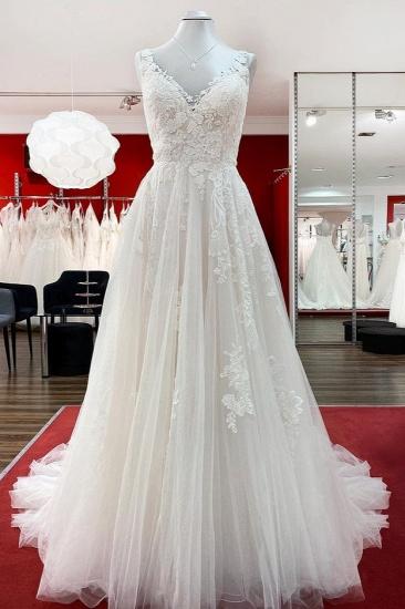 BMbridal Graceful Ivory Tulle V Neck Lace Ruffles A-Line Wedding Dresses