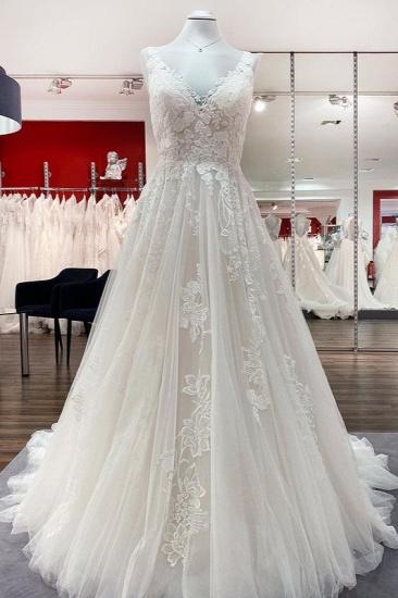 BMbridal Simple Tulle Lace V Neck Appliques A-Line Wedding Dresses Long
