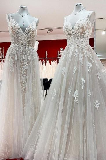 BMbridal Elegant V Neck Ivory Sleeveless Ruffles A-Line Wedding Dresses