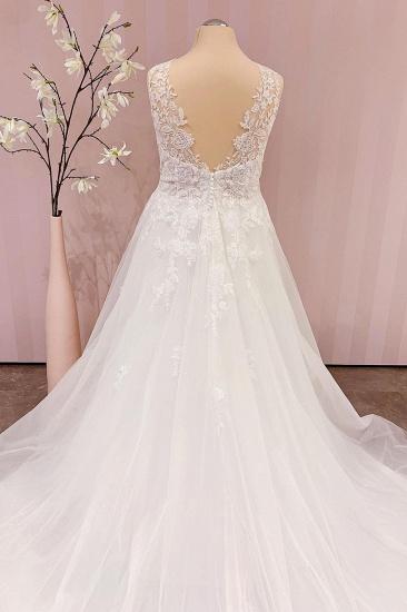 BMbridal Delicate Lace V-Neck Long Wedding Dress Sleeveless_2