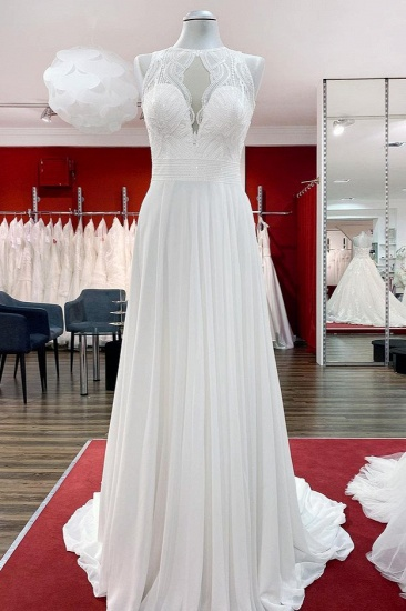 BMbridal Chiffon Jewel Ruffles Appliques A-Line Wedding Dresses