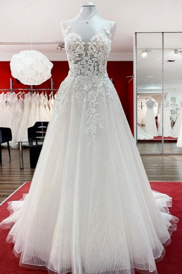 BMbridal Tulle Sleevless Ruffles Jewel  A-Line Wedding Dresses With Lace Appliques