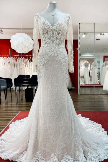 BMbridal Sweetheart Long Sleeves Tulle Ivory Mermaid Wedding Dresses