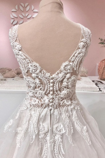 BMbridal Sleeveless Lace Appliques Wedding Dress Long With V-Neck_4