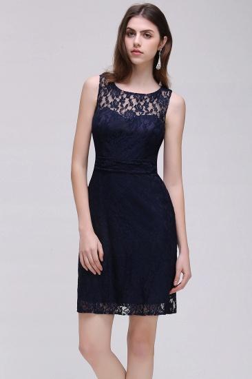 BMbridal Gorgeous Navy Blue Lace Short Prom Dress_3