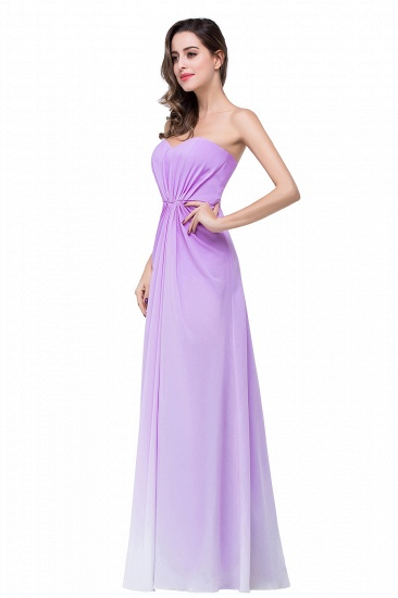 Gorgeous A-line Strapless Lilac Chiffon Bridesmaid Dress Cheap In Stock_7