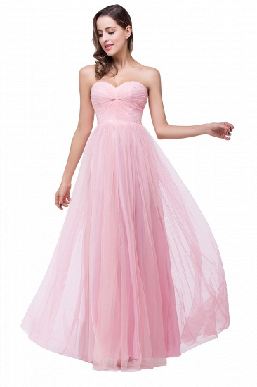 Affordbale A-line Tulle Sweetheart Ruffle Pink Bridesmaid Dress Online In Stock_5