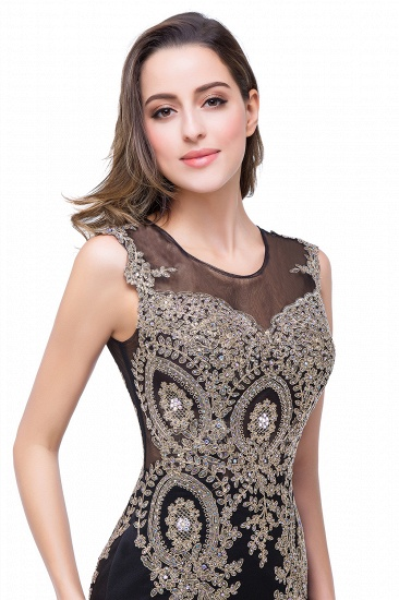 BMbridal Black Mermaid Long Prom Dress With Lace Appliques_15