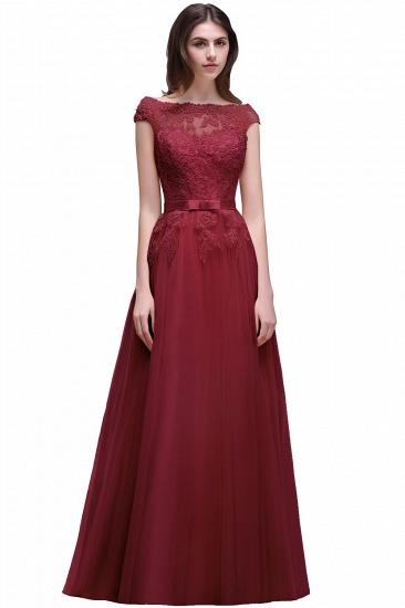 BMbridal Cap Sleeve Lace Appliques Long Evening Dress_3