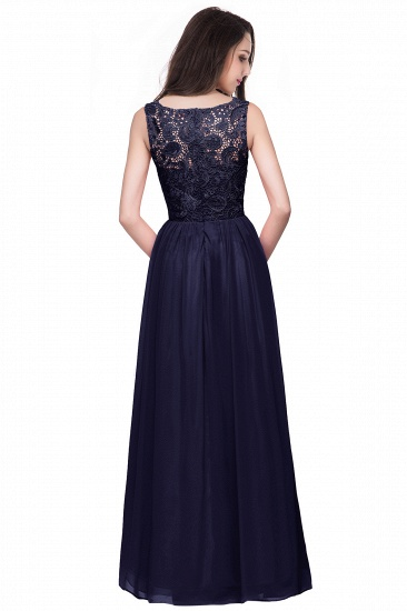 BMbridal Affordable A-line Chiffon Crew Lace Navy Long Bridesmaid Dresses In Stock_11