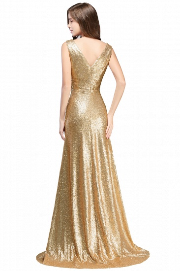 BMbridal Elegant A-line Open Back Sequins Sleeveless V-neck Evening Dress_4