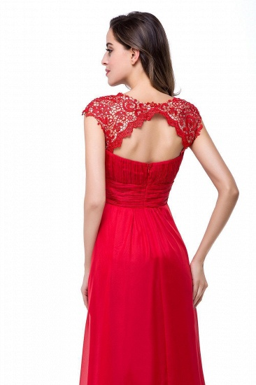 Affordable A-Line Jewel Red Chiffon Lace Bridesmaid Dress In Stock_6