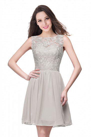 Affordable Chiffon Lace Short Bridesmaid Dresses with Ruffle In Stock_8