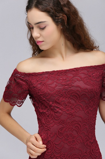 BMbridal Burgundy Lace Sheath Homecoming Dress Short Sleeves Cocktail Dress_6