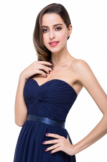 BMbridal Affordable Chiffon Strapless Navy Bridesmaid Dress with Ruffle In Stock_9