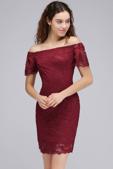 BMbridal Burgundy Lace Sheath Homecoming Dress Short Sleeves Cocktail Dress