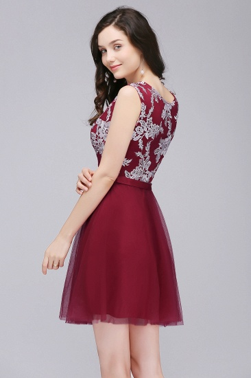 BMbridal Pink Short Homecoming Dress with Lace Appliques_6