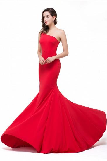 BMbridal Red One-Shoulder Floor Length Mermaid Prom Dress_8