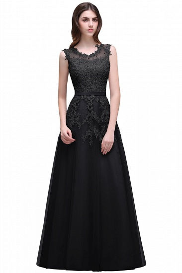 BMbridal A-line Floor-length Tulle Prom Dress with Appliques_7