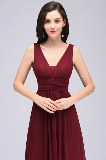 BMbridal Affordable Burgundy Chiffon Long Burgundy Bridesmaid Dress In Stock_7
