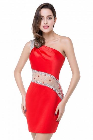 BMbridal Crystal Beading One-shoulder Short Mermaid Prom Dress_2