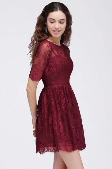 BMbridal A-Line Round Neck Short Lace Burgundy Homecoming Dress_6