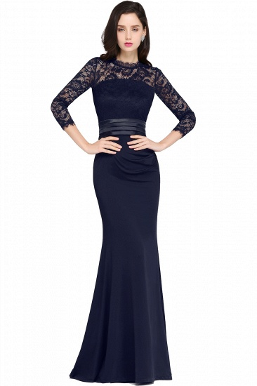 BMbridal Chic Sheath High Neck Black Bridesmaid Dress with Lace In Stock_3