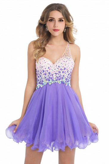 BMbridal A-line One Shoulder Chiffon Party Dress With Crystal_2