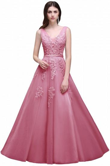 BMbridal V-Neck Sleeveless Lace Appliques Bridesmaid Dress_4