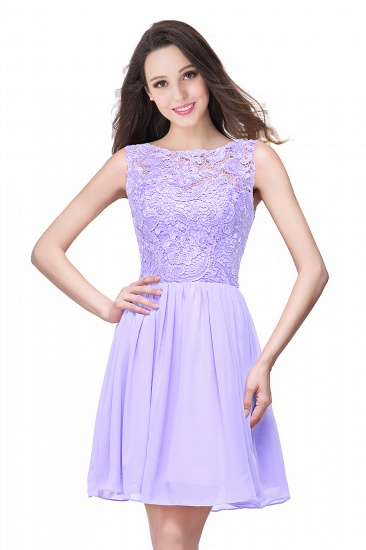 Affordable Chiffon Lace Short Bridesmaid Dresses with Ruffle In Stock_4