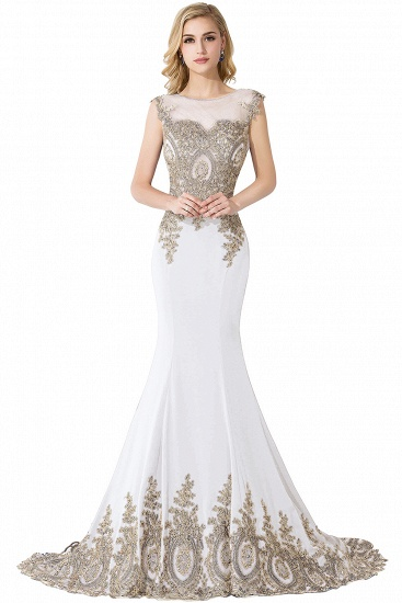 BMbridal Mermaid Court Train Chiffon Evening Dress with Appliques_1