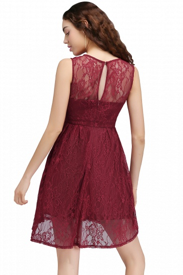 BMbridal A-Line Round Neck Short Lace Burgundy Homecoming Dress_2
