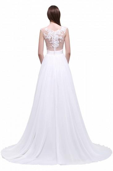 BMbridal Elegant White Sheer Lace Chiffon Beach Wedding Dress_6