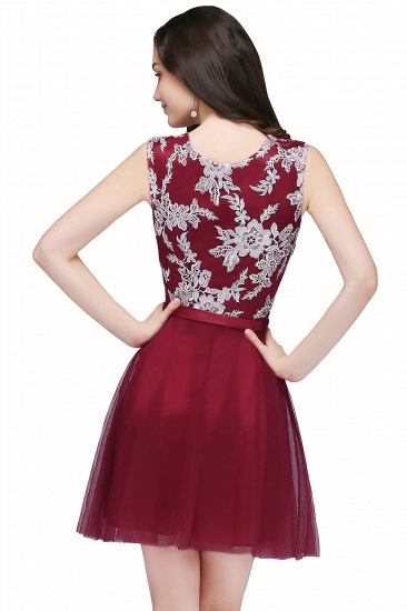 BMbridal Pink Short Homecoming Dress with Lace Appliques_5