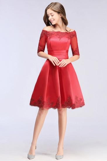 BMbridal Chic Half Sleeve Lace-up Off-shoulder Lace Appliques Short Prom Dress_11