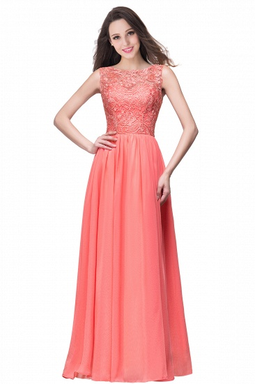 BMbridal Affordable A-line Chiffon Crew Lace Navy Long Bridesmaid Dresses In Stock_1