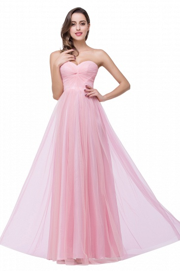 Affordbale A-line Tulle Sweetheart Ruffle Pink Bridesmaid Dress Online In Stock_8