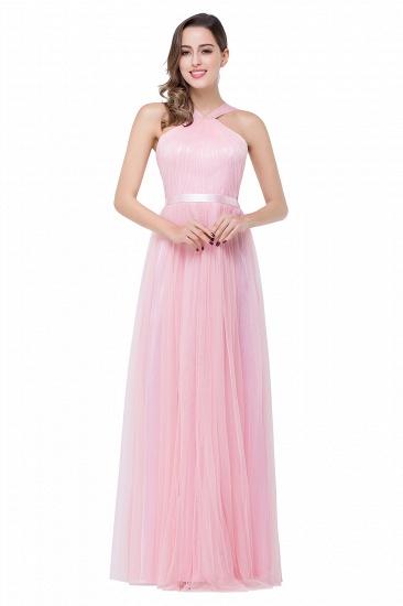 BMbridal Sheath Pink Tulle Ribbon Sash Simple Bridesmaid Dress_2