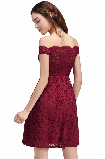 BMbridal A-Line Off-the-shoulder Short Burgundy Lace Homecoming Dress_3