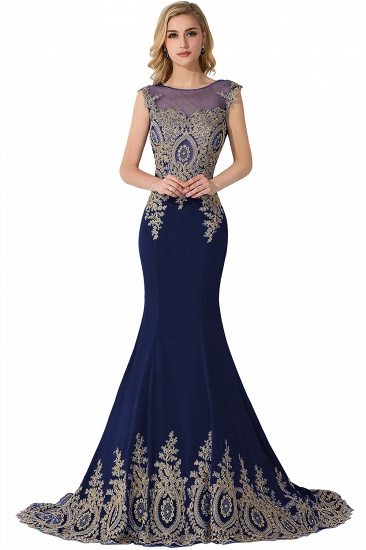 BMbridal Mermaid Court Train Chiffon Evening Dress with Appliques_5