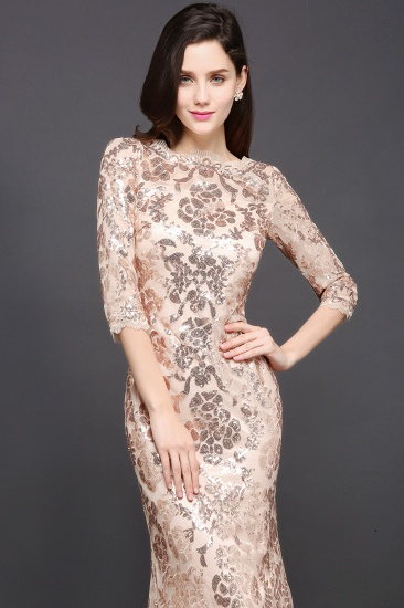 Gorgeous Long Sleeve Sequins Prom Dress Mermiad Long Evening Party Gowns_3