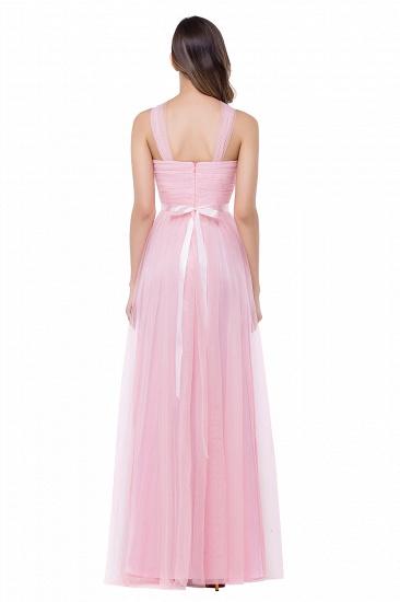 BMbridal Sheath Pink Tulle Ribbon Sash Simple Bridesmaid Dress_3